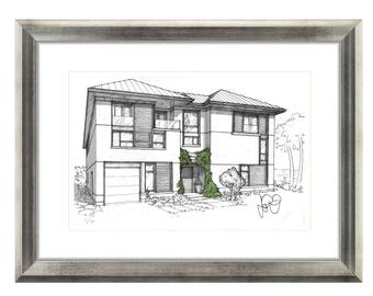 Print of Curb Appeal Home Designs, Custom Watercolor Detail, Signed/Numbered