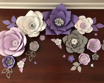 Paper Flowers Pink Grey Gold Nursery Birthday Backdrop Decor Etsy
