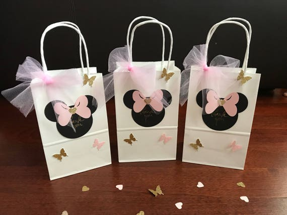 10 Minnie Mouse Goodie Favor Bags Pink Gold Black Red Birthday