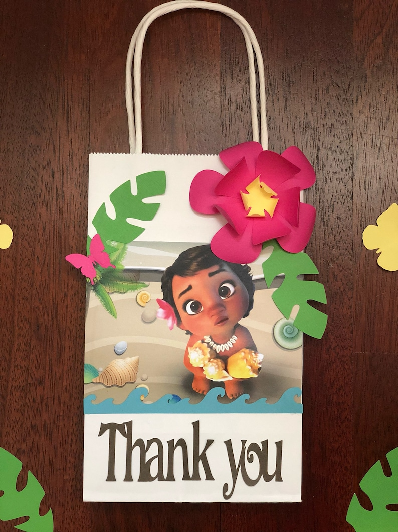 10 Baby Moana Goodie Favor Bags Pink Flower 3d Birthday Party