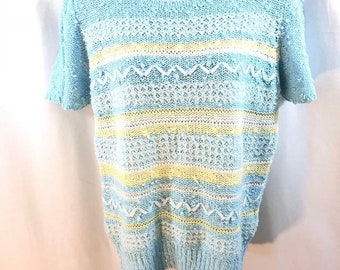 6191ff70c5dc6e Vintage LeRoy Knitwear Womens Nubby Sweater Striped Pearls Nubs Sz Large