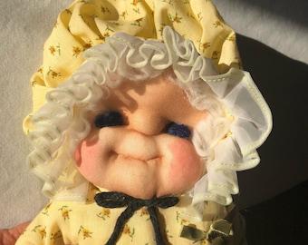 Homemade Soft Sculpture Doll Granny Puoneer Prairie Dress