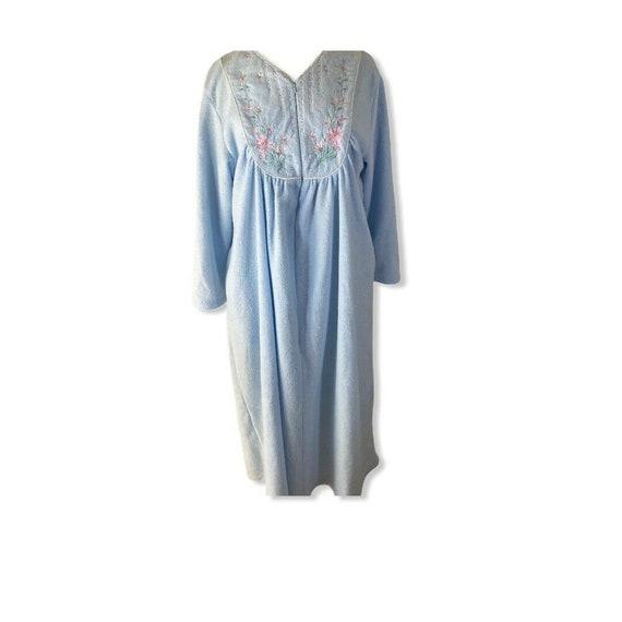 Vintage Robe Housecoat Zip Front Fleece Pink Quilt