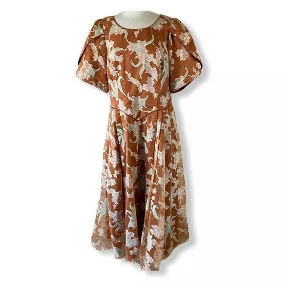 Vintage Donna Dress Formal Party Floral Taffeta Ja
