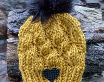Autumn Love Knit Beanie, Fall Handknit Hat, Uitwaaien Toque, Mustard Winter Hat, Ladies Fall Hat