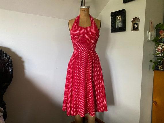 vintage 1950s red polka dot Princess Peggy halter