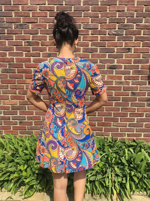 handmade 60s psychedelic floral print mini dress - image 3