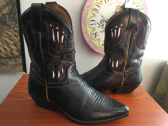 1990s Flings ankle cowboy boots with cutout detai… - image 2