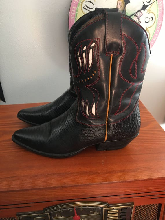 1990s Flings ankle cowboy boots with cutout detai… - image 4