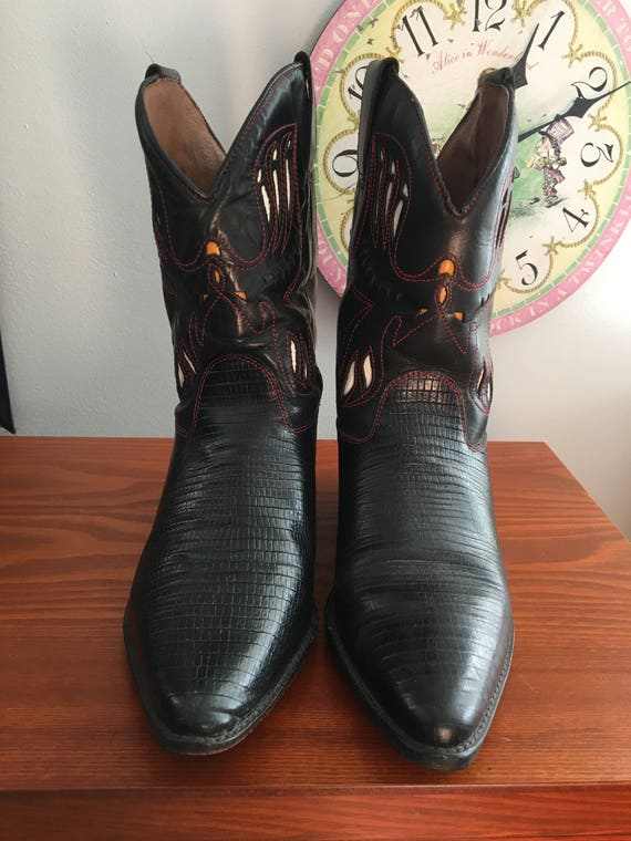 1990s Flings ankle cowboy boots with cutout detai… - image 3