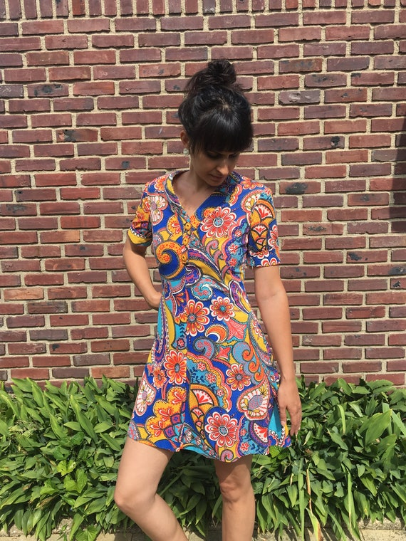 handmade 60s psychedelic floral print mini dress - image 1