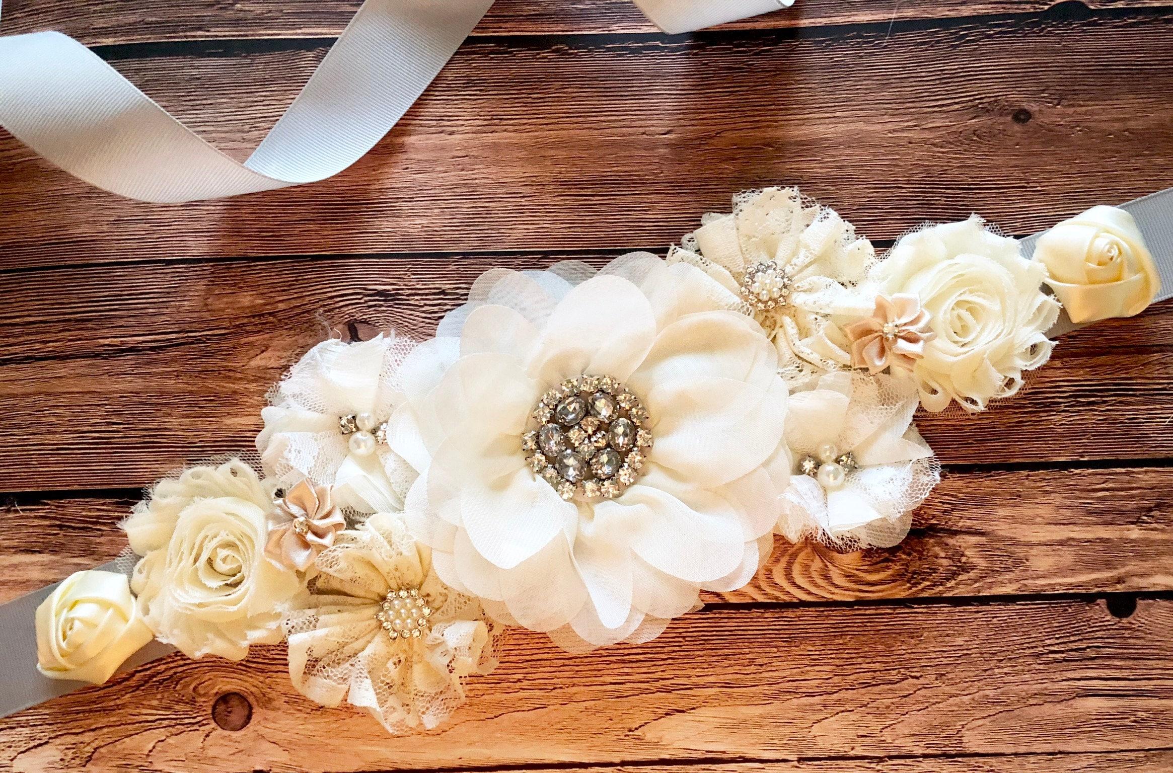 Cream White Flower Bridalmaternity Sash Belly Sash Pregnancy Etsy