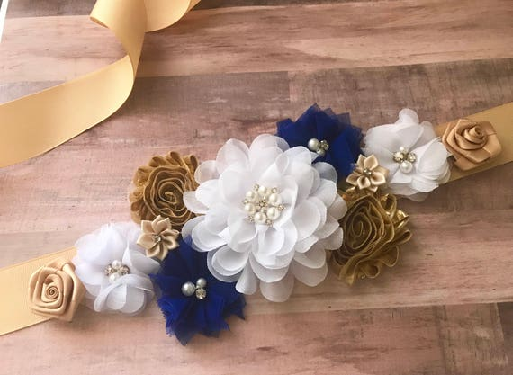 Adornos Para Baby Shower Hombre.Royal Blue And Gold Maternity Sash Boy It S A Boy Flower Sash Belly Sash Gender Reveal Party Baby Shower Gift Keepsake