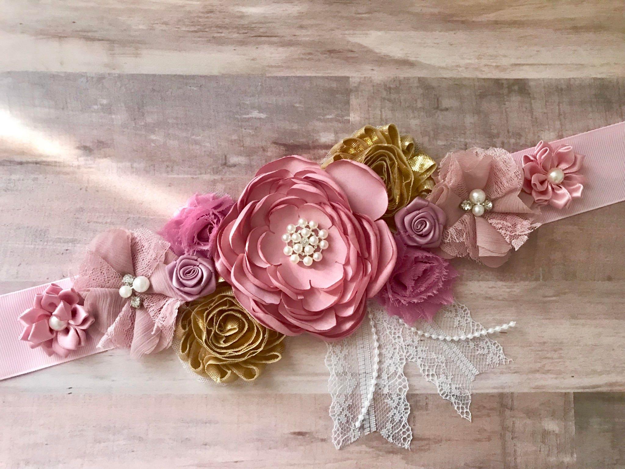 Pink mauve and gold flower sash maternity flower girl baby etsy zoom mightylinksfo