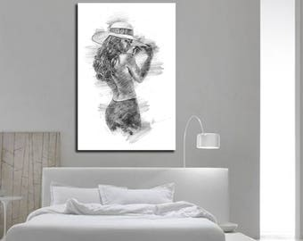 CANVAS PRINT His u0026 Hers Bedroom Wall Decor Master Bedroom Bathroom wall art Sexy Pencil Sketch Erotic art Nude realism - P003 C & Sensual Wall Art for Your Home by SensualExpressions on Etsy