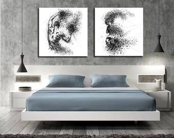 Canvas Art Sensual Bedroom Wall Decor His Hers Abstract Canvas Print Modern Erotic Master Bedroom Art Figure Drawing Wall D