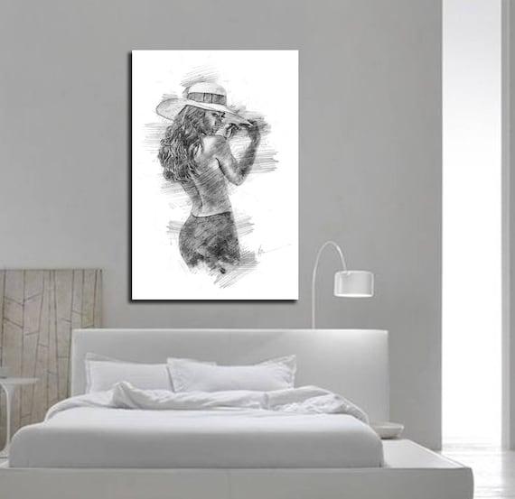 Drukuj Płótnie Jego Jej Dekoracje ścienne Sypialnia Kapitan Sypialnia łazienka Wall Art Sexy Ołówek Szkic Sztuki Erotycznej Nude Realizmu P003 C