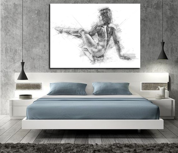 Sensual canvas art his hers bedroom wall decor master etsy - Sensual paintings for the bedroom ...