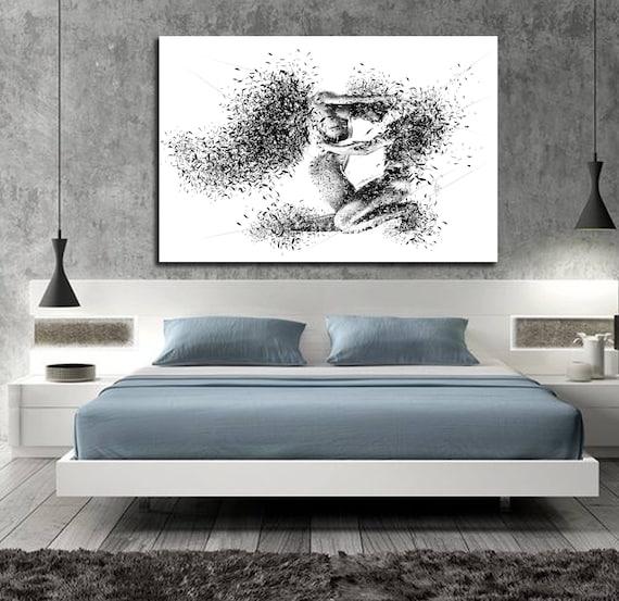 Leinwand Kunst seine & Ihr Schlafzimmer-Wand-Kunst, abstrakte  Kunst-Leinwand, Bleistift-Skizze-Erotik-Master Schlafzimmer Wand Kunst Nude  Abbildung ...
