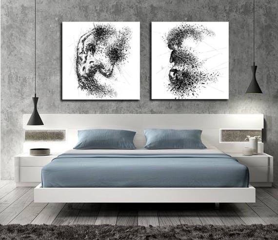 Canvas Art Sensual Bedroom Wall Decor His Hers Abstract Canvas Print Modern Erotic Master Bedroom Art Nude Figure Drawing Wall D067