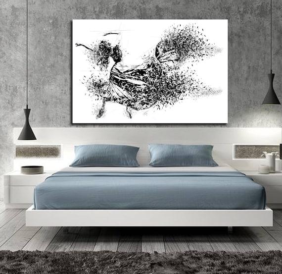 CANVAS ART Sensual Bedroom Wall Decor, Minimalist Bedroom Abstract Art,  Modern Master Bedroom Wall Art, Dancer Figure Drawing D003