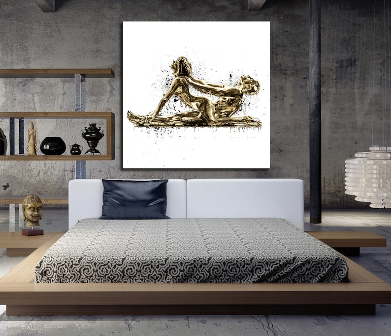 CANVAS ART Sensual Bedroom Wall Decor Dripping Gold ...