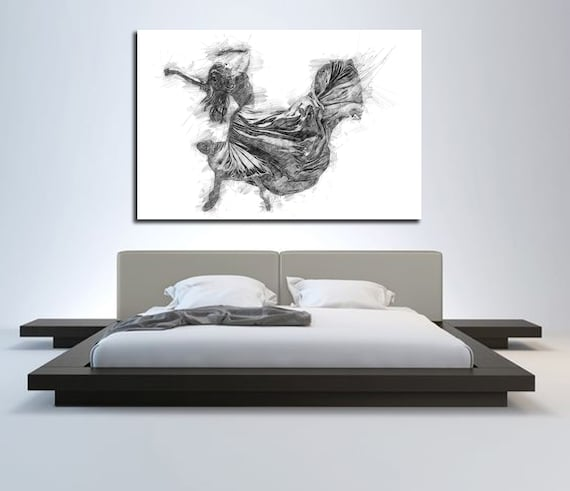 CANVAS ART Sensual Bedroom Wall Decor, Minimalist Bedroom Abstract Art,  Modern Master Bedroom Wall Art, Dancer Figure Drawing P017