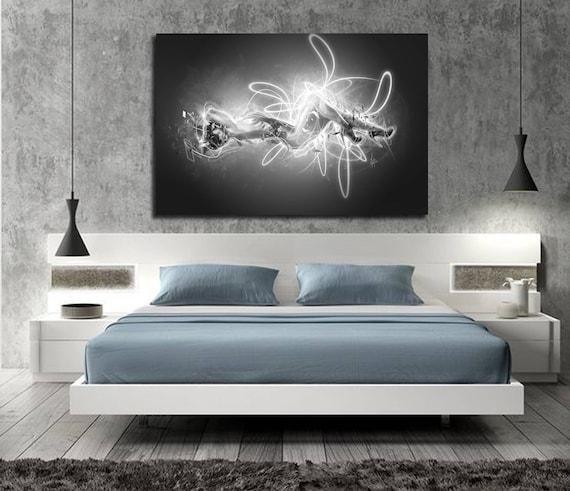 Canvas Art Bedroom Wall Decor Elegant Contemporary Abstract Etsy