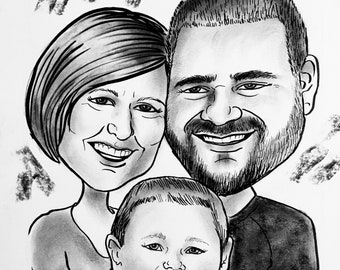 """12""""x16/16""""x12"""" BW, 1, 2, 3 or 4 subject traditionally HAND-DRAWN (on art stock) detailed spot-on headshot caricature (matted)"""