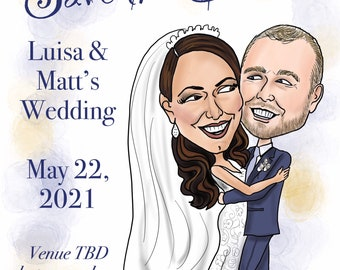 Unique, digitally drawn and uploaded, custom, wedding caricature Save the Date art