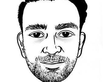 Multiple size- BW one subject, traditionally HAND DRAWN (on art  stock) headshot caricature from photo (matted)