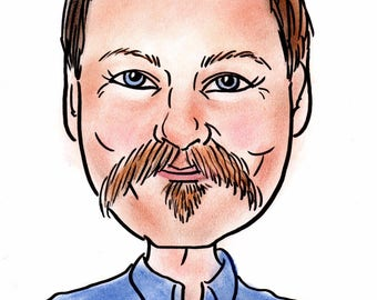 Multiple size—Color, 1 subject traditionally ( on art stock) HAND-DRAWN detailed spot-on headshot caricature (matted)