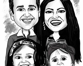 Digitally hand-drawn, BW, 2-6 subject, spot-on (w shades of grey) headshot caricature