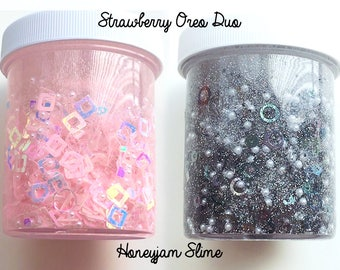 Strawberry Oreo DUO fishbowl sequins slime