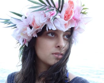 Tropical pink flower crown
