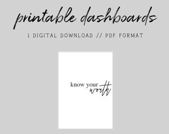 MINI HP // Know Your Worth // Digital Printable Dashboard