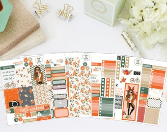 25% OFF SALE (no coupon needed) - Fall For You Deluxe Kit - Vertical Planner Stickers (Weekly Sticker Kit) - For Use With Erin Condren LP
