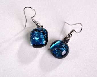 """Fun and fancy dangle earrings. Fused blue dichroic glass! Cute and stylish. Glass is .25"""" long. #194"""