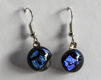 """Smart and fun, dangle earrings of blue dichroic fused glass dots! Elegant and stylish. Glass is .25"""" in diameter. #200"""