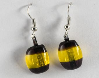Casual and fun fused glass earrings, yellow and dark purple glass earrings on a silver-plate earring wire! #198