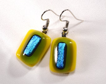 """I love these yellow, green and blue dichroic fused glass dangle earrings! Glass piece is 3/4"""" long. Cute and stylish. #343"""