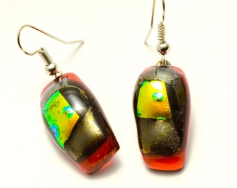 """Stunning dangle earrings. Red glass fused with a green/gold dichroic.  Glass piece is 3/4"""" long. Your fans will say WOW!. #142"""