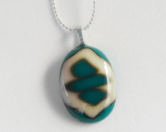 """Interesting glass pendant (1.25""""), stacked layers of green and creamy white fused glass; Pendant hangs on a 18"""" silver necklace. #201"""