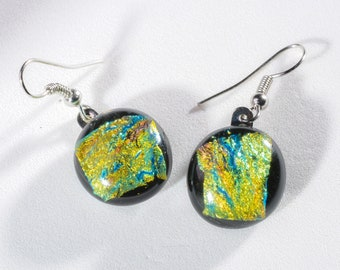 """Large, dichroic, fused glass dangle earrings! Elegant and stylish. Glass is .6"""" in diameter. #301"""