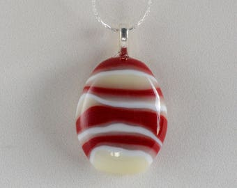 """Lovely red and white fused glass pendant; Striped pendant (1.1"""" long), hangs on a 18"""" silver necklace. #187"""