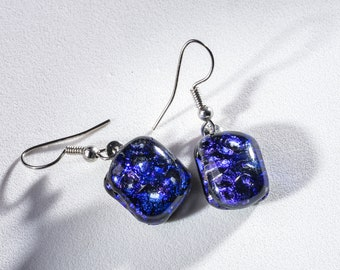 """Cute dangle earrings of blue dichroic fused glass squares! Elegant and stylish. Glass is .5"""" long. #290"""