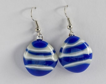 """Fun and casual, blue and vanilla creme fused stacked glass, dangle earrings. Glass is almost 1"""" diameter. Cute and stylish. #191"""
