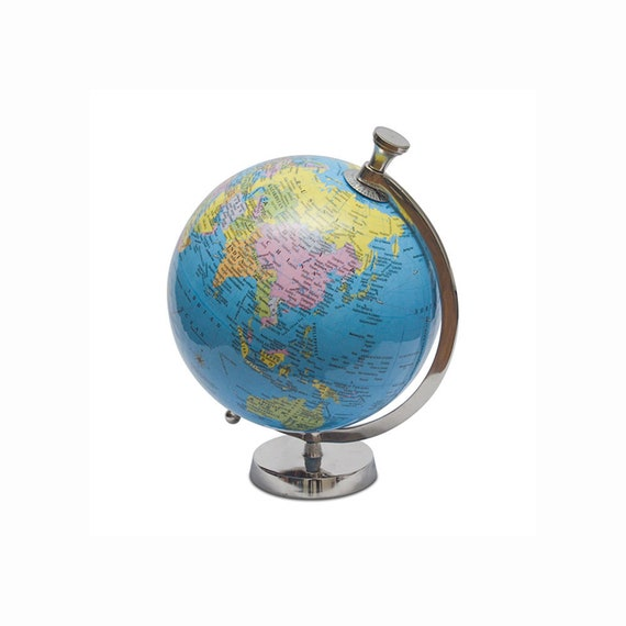 Pastel Country Metal Globe office /& table Decor