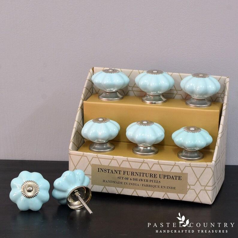 Pastel Country Set of 6 Premium Cabinet Drawer Dresser Ceramic Knobs Pulls