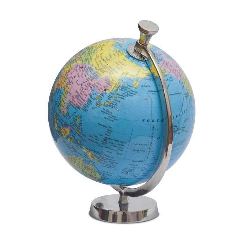 Home Office Pastel Country Globe with Aluminum Arc and Base World Globe